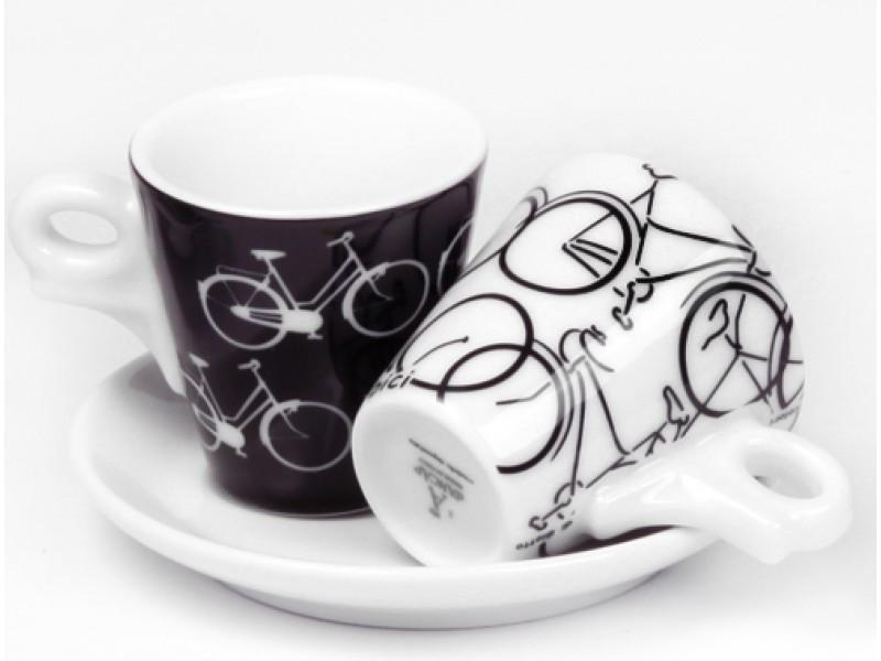 Ancap, GIOTTO AP-29339, 2 Кофейные пары с белым блюдцем для эспрессо, деколь Italia in Bici, 70 мл