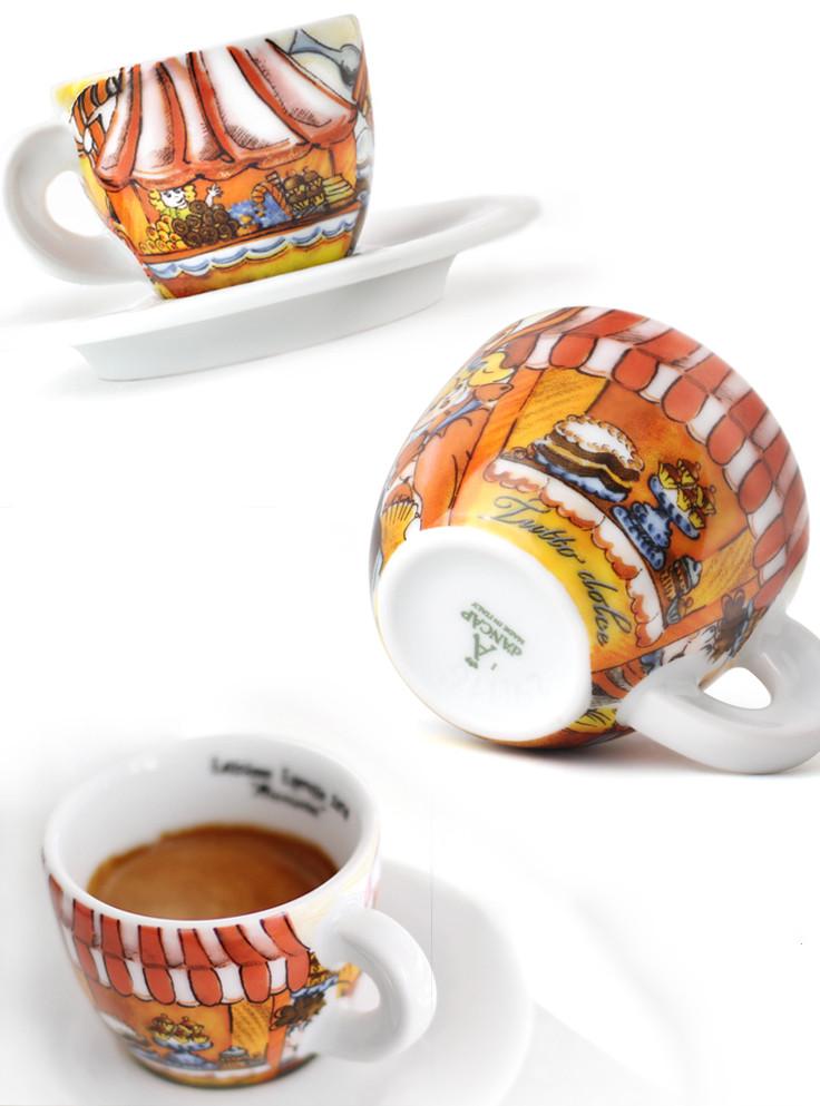 Ancap, EDEX AP-31613, 2 Кофейные пары с белыми блюдцами для эспрессо, деколь Mercatini, 60 мл