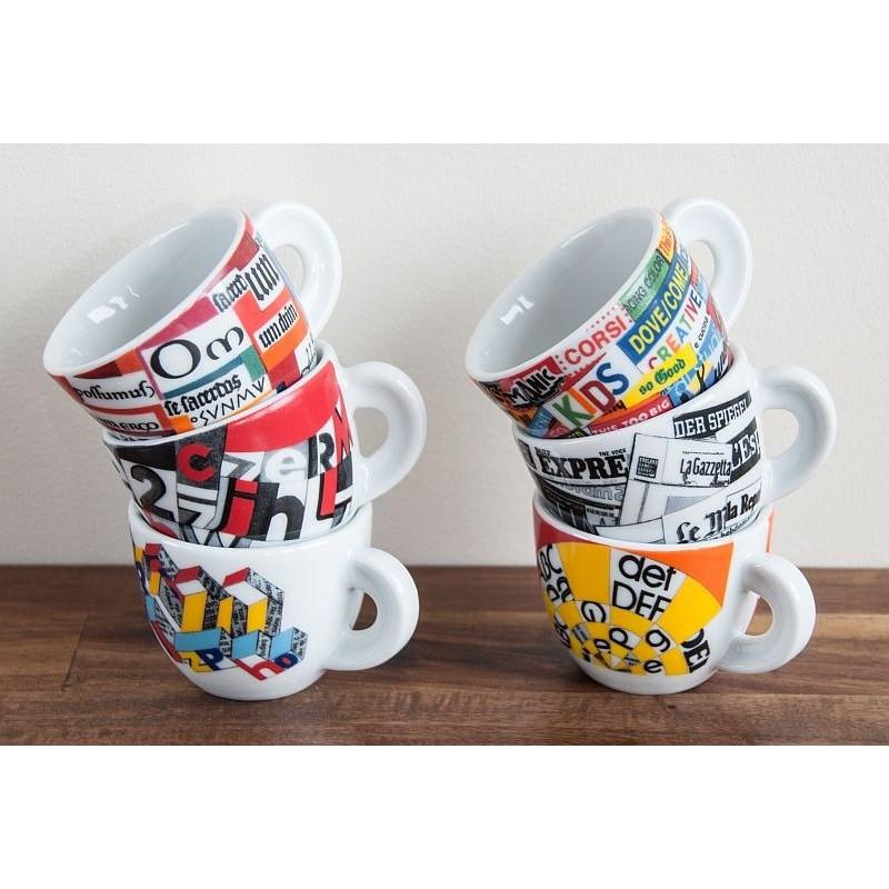 Ancap, EDEX AP-33821, 6 Кофейных пар с белыми блюдцами для капучино, деколь Stampa, 190 мл