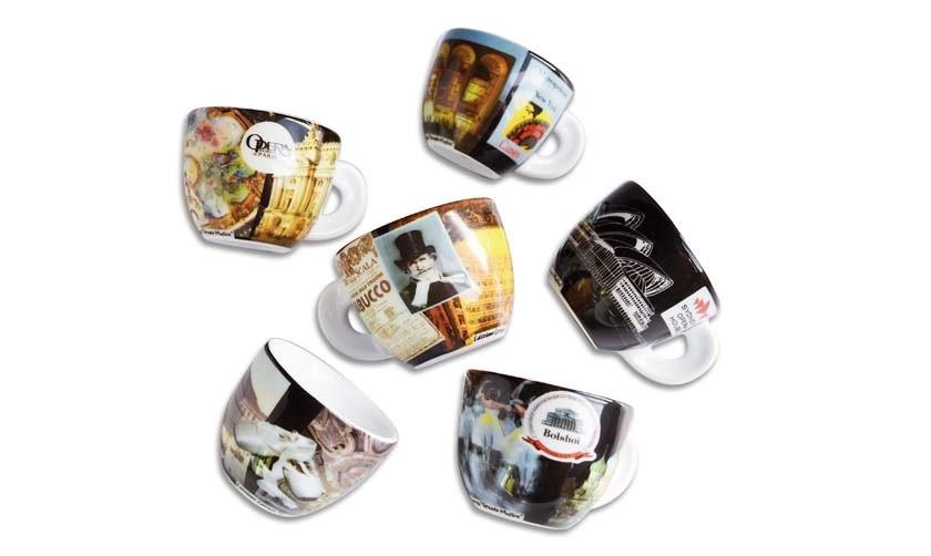 Ancap, EDEX AP-35933, 6 Кофейных пар с белыми блюдцами для капучино, деколь Grande Musica, 190 мл